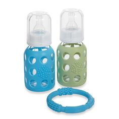 These glass baby bottles are made of the highest quality, thermal shock resistant borosilicate glass, allowing the bottles to transition safely from freezer to boiling water.  Instead of plastic, choose glass as the healthier baby bottle alternative. These are great sky blue and spring green summery bottles.   Protective medical-grade silicone sleeve provides a tactile non-slip gripping surface and helps prevent breakage.