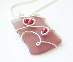 Red Pearl Wire Wrapped Recycled Glass Necklace by mlwdesigns