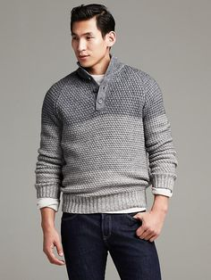 Textured Ombre Button-Mock Pullover Product Image