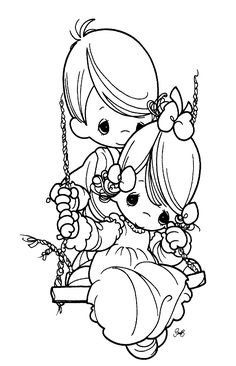 precious moments images clipart   Free precious Moments coloring sheets of young boy pushing a girl on ...