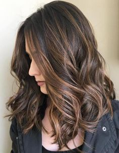 Balayage- Brunette Hair with Lighter Streaks