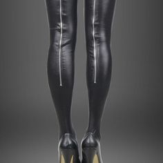 Sexy Black Faux Leather Stockings Zipper Women Thigh High Chain Bachelor Party  #Unbranded #Stockings