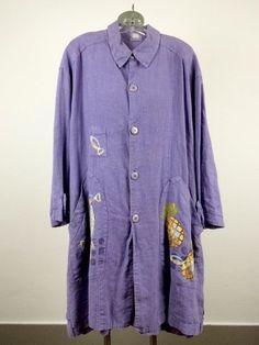 Blue Fish Plus Lilac Hemp Pinapple Coat Drs Duster Jacket Oversized PLus Size OS #BlueFish #BasicJacket