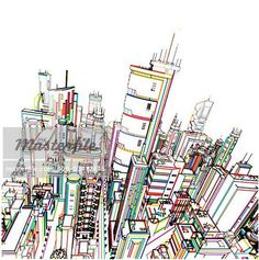A line drawing of a thriving city in an array of colors