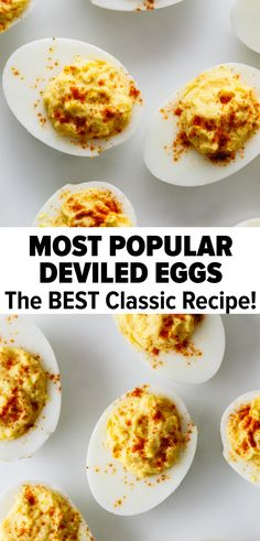 Deviled eggs are hard boiled eggs where the yolk is mixed with mayonnaise, mustard, vinegar, salt and pepper. A little sprinkle of paprika helps make these the best deviled eggs recipe. Deviled Eggs Recipe With Vinegar, Devilled Eggs Recipe Best, Healthy Deviled Eggs, Best Deviled Eggs, Easy Whole 30 Recipes, Most Popular Recipes, Egg Recipes, Paleo Recipes, Cooking Recipes