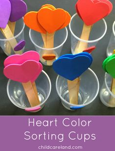 Heart Color Sorting Cups - Heart Color Sorting Cups For Preschool and Kindergarten Color Recognition and Fine Motor Develpment Montessori Materials, Montessori Activities, Color Activities, Sorting Activities, Cognitive Activities, Autism Activities, Kindergarten Colors, Preschool Colors, Back To School Crafts