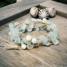 Bracelet Wrap, Beach Bracelet Wrap, Crocheted Bracelet Wrap, Bohemian Jewelry, Crocheted Beachy Bracelet Wrap, Mermaid Bracelet, Surfer Girl