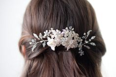 Bridal crystal beaded hair comb silver and ivory by Cultivar