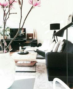 Industrial living room. Simple black and white
