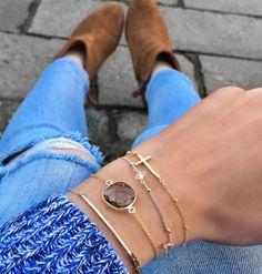 Beady Button Bracelet - smoky quartz