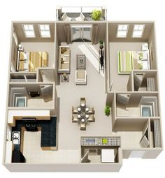 Condo floor plans, apartment layout, apartment plans, two bedroom, garage a 2 Bedroom Apartment Floor Plan, 2 Bedroom House Plans, Apartment Layout, Apartment Plans, Two Bedroom Apartments, Apartment Design, Studio Apartments, Condo Floor Plans, 3d House Plans