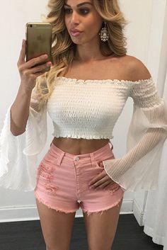 Blouses & Shirts Smart European Style Fashion Sexy Strapless Bra Collar Bandage Waist Shirt Women Short Crop Tops Girls All-match Basic Blouses Blusa To Produce An Effect Toward Clear Vision
