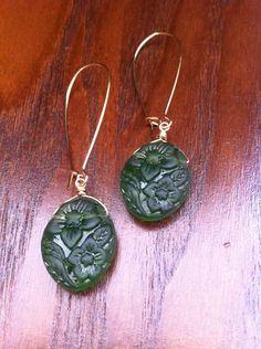 Green Czech pressed glass earrings Pressed Glass, Glass Earrings, Pendant Necklace, Green, Jewelry, Jewlery, Jewerly, Schmuck, Jewels
