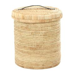 A strong, round laundry basket. Sturdy base, tidy look with reinforced leather handles on the lid. Woven with Palm. Size Options: Large : (d) x (h) Small : (d) x (h) This product has a lead time of 2 weeks for production and delivery Fast Growing Vines, Modern Stools, Minimalist Room, Storage Baskets, Leather Handle, Basket Weaving, All In One, Sale Items, Laundry Basket