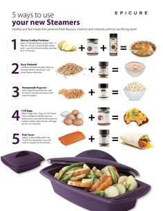 Epicure's Silicone Steamers – Dinner in Minutes! Healthy Meals To Cook, Healthy Cooking, Healthy Recipes, Healthy Eating, Healthy Food, Yummy Recipes, Epicure Recipes, Cooker Recipes, Epicure Steamer