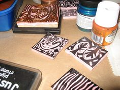 #fabric paints and homemade stamps.    save on party and craft supplies for 2013 ..up to 70% off retail... #arts ..#crafts .. #sewing ... share .. repin .. like  :)    http://amzn.to/13iw3yo