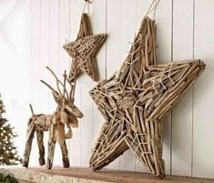 Pottery Barn Christmas driftwood stars - could we knock off? Natural Christmas, Christmas Love, A Christmas Story, Christmas Holidays, Christmas Crafts, Christmas Ornaments, Christmas Trees, Pottery Barn Christmas, Coastal Christmas