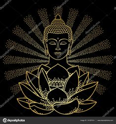 Illustration about Gold Buddha and Lotus with beam of light isolated on black background. Budha Painting, Tanjore Painting, Dot Art Painting, Mandala Art Lesson, Mandala Drawing, Mandala Painting, Buddha Artwork, Buddha Drawing, Madhubani Art