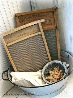 The Country Farm Home: My Blue Haven--Simplifying the Bath --- love the old washboards & clothes pins in a bucket