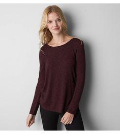 Burgundy AEO Cowl Back Sweater