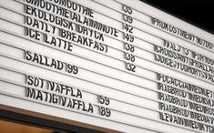 Custom menu board designed by for Stockholm cafe Caldo Coffee at the Scandic Continental Menu Board Design, Menu Design, Wayfinding Signage, Signage Design, Restaurant Branding, Restaurant Design, Restaurant Ideas, Speisenkarten Designs, Menu Vintage