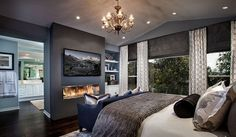 Modern Master Bedroom Interior Design - Modern Master Bedroom Design Ideas, Pictures, Remodel, and Decor - page 6 Fire place is cool Master Bedroom Interior, Modern Master Bedroom, Contemporary Bedroom, Dream Bedroom, Home Interior, Home Decor Bedroom, Interior Design, Bedroom Ideas, Bedroom Tv