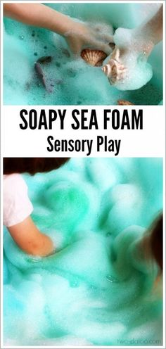 "You can make this beautiful puffy ""sea foam"" with just a few simple ingredients- great for ocean themes or just a fun summer activity!"