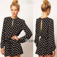 Price: 8.77$ Hot Chic NEW Womens Long Sleeve Polka Dots Cotton Rompers  Short Pant Jumpsuit overalls