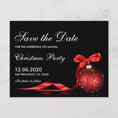 Christmas & Holiday Party Save The Date Postcard An elegant Christmas or holiday party save the date postcard. Featuring a red ornament with ribbon against a black background. Great for private and corporate holiday party events. Christmas Save The Date, Elegant Christmas, Christmas Wedding, Christmas Holidays, Christmas Engagement, Christmas Ideas, Modern Christmas, Happy Holidays, Merry Christmas