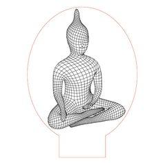 Buddha 3d illusion lamp vector file for CNC - 3bee-studio