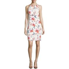 Ivanka Trump Floral Halter Dress ($118) ❤ liked on Polyvore featuring dresses, off white coral, floral halter dress, vintage white dress, sleeveless floral dress, halter-neck tops and floral day dress