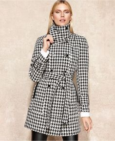 Calvin Klein Coat, Houndstooth Wool-Blend Trench - Coats - Women - Macy's