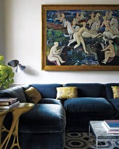 Julie Adama posted Elle Decor, blue velvet sectional, geometric rug to her -For the home- postboard via the Juxtapost bookmarklet. Blue Velvet Couch, Blue Couches, Elle Decor Magazine, Townhouse Designs, Blue Rooms, Geometric Rug, Home Interior, Luxury Interior, Contemporary Interior