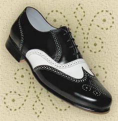 Aris Allen Mens 1930s Black and White Spectator Wingtip Dance Shoe