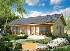 Projekt domu Eryk (z wiatą) 89,19 m² - koszt budowy - EXTRADOM Simple House Design, Modern House Design, Villas, Patio Grande, House In The Woods, Bathroom Interior, Future House, Bali, House Plans