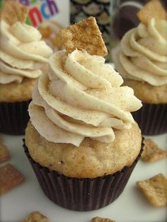Cinnamon Toast Crunch Cupcakes Now I know what to do with the second bag in the box from costco that the kids won't eat.