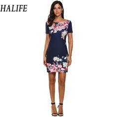 Women's Short Sleeve Elegant Flower Mini Dress