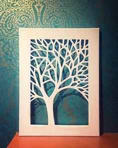 White Canvas Cut Tree