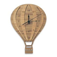 Hot Air Balloon Wall Clock - Bamboo | Nursery & Kids Decor by Nest Accessories