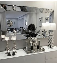 Glass mirror, silver and black. - #black #Glass #mirror #silver