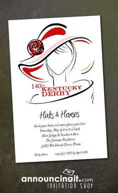 Dressed Derby Party Invitations feature a woman wearing a beautiful derby hat with a red rose. Perfect for your Kentucky Derby Party Invitations, horse themed invitations, Derby themed bridal shower invitations and more. Cowboy Party, Horse Party, Invitation Wording, Party Invitations, Invitation Cards, Invites, Derby Day, Derby Time, Derby Dinner