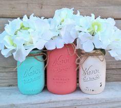 Coral Teal and Cream-Set of Mason Jars-Cottage Chic Decor-Painted Mason Jar Decor-Nursery-Baby Shower Decor-Wedding Shower-Table Centerpiece