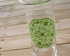 Vase Centerpiece - Hand Painted Glass with Green Doily Design. $35.00, via Etsy.