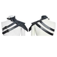 Rebelsmarket mens sloping shoulder straps faux leather harness collar  ties and neckwear 10