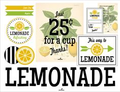 Love, love, lovelovelove these free Lemonade Stand Printables!