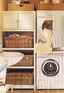 laundry room stackables leave room for shelves.I may have changed my mind about stacking my washer and dryer by eddie Laundry Closet, Small Laundry, Laundry Room Organization, Laundry Room Design, Laundry In Bathroom, Laundry Rooms, Laundry Baskets, Laundry Cupboard, Laundry Storage