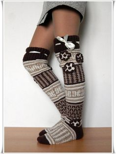 Valentine gift ideas Wool Knee high Knee socks for by Elishadesign