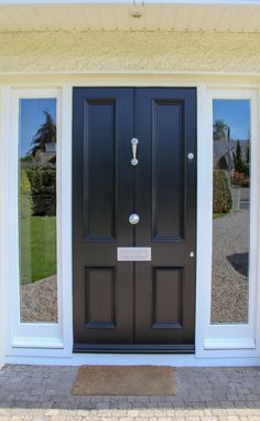 Painted jet black RAL 9005 on the exterior and white on the interior RAL Sash Windows, Casement Windows, Windows And Doors, Timber Front Door, Window Replacement, Jet, Restoration, Garage Doors, Exterior
