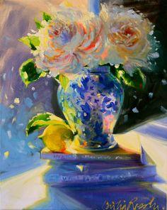 Cecilia Rosslee ~ 'n Suurlemoen Art Floral, Swans, Delft, Art Bleu, Rose Art, Oeuvre D'art, Painting Inspiration, Fine Art Paper, Flower Art