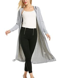 Women's Cardigans - Meaneor Womans Long Sleeve Waterfall Open Front Maxi Cardigan w Hoodies ** Details can be found by clicking on the image. Cardigans For Women, Women's Cardigans, Amazon Girl, Waterfall Cardigan, Maxi Cardigan, Just Run, Grey Hoodie, Long Sweaters, Black Dark